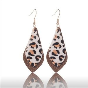 Just In!Leopard print Real Feather Leather Earring